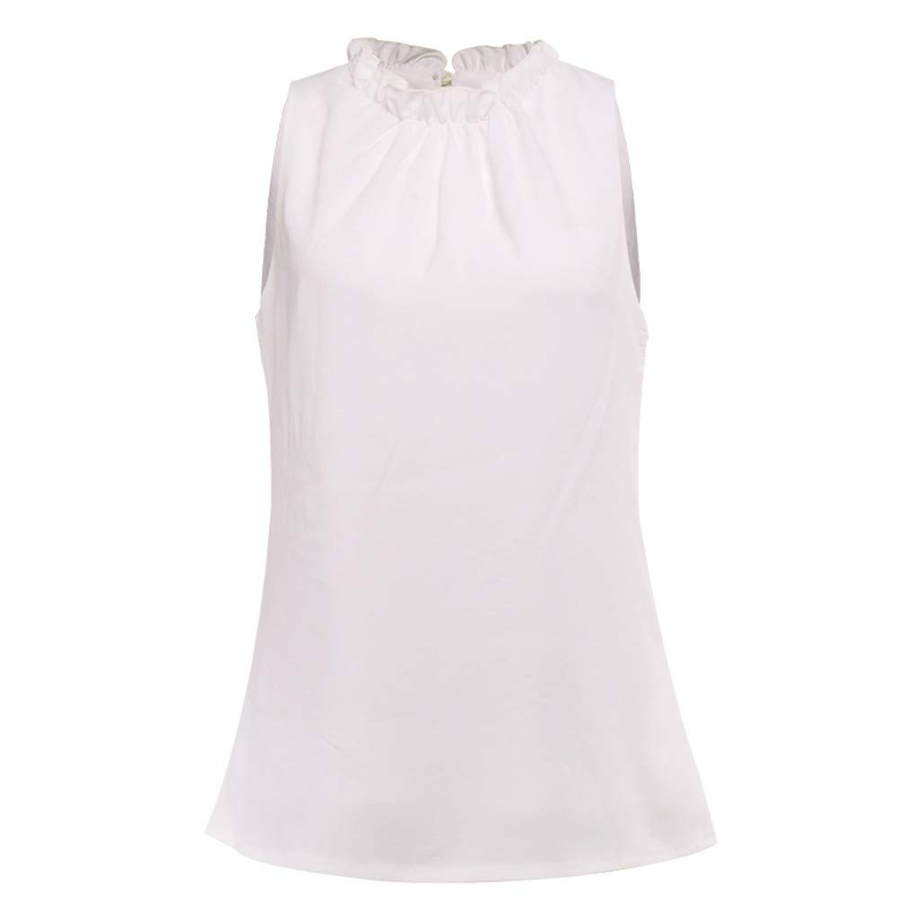Short Sleeve Tee Blouse for Women, Amiley Womens Ladies Solid O-Neck Blouse Tee Ruched Office Work Casual Shirts Tops (X-Large, White)