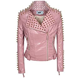 Faux Leather PU Pink Jacket With Studded Rivet