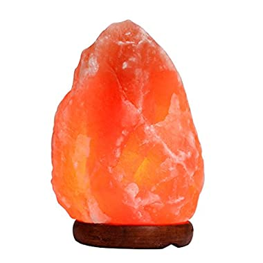 TGS Gems YD001B Himalayan Salt Lamp with Wood Base, Cord and Bulb, 5.5 lb / 7.5-Inch