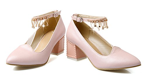 Aisun Womens Sweet Rhinestones Chains Pumps Chunky Mid Heels Shoes With Buckle Pink 3KclOTSD