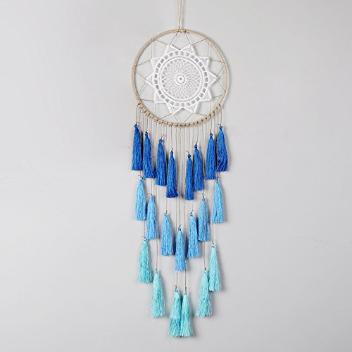 Artilady 8inch handmade tassel dream catcher wall decoration (blue) by Artilady
