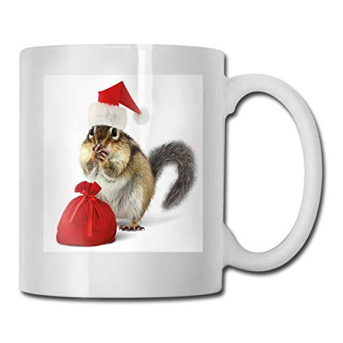 Funny Ceramic Novelty Coffee Mug 11oz,Chipmunk In Red Santa Claus Hat And Bag With Surprise Xmas Presents,Unisex Who Tea Mugs Coffee Cups,Suitable for Office and Home ()