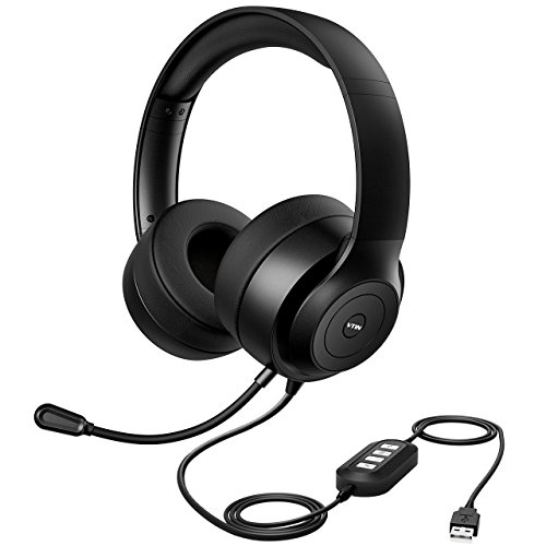 Vtin Headset with Microphone, USB Headset/3.5mm Computer Headphone Headset,Noise Cancelling and Hands-Free with Mic, Stereo On-Ear Wired Business Headset for Skype, Call Center, PC, Phone by Vtin