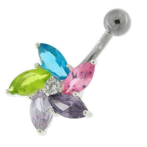 Coloré Multi couleur Pierre CZ tourbillonnant fleur 925 Sterling Silver ventre avec acier inox