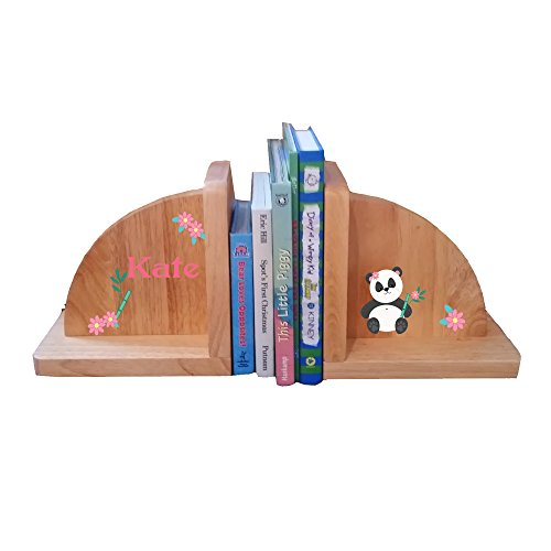 Personalized Panda Bear Natural Childrens Wooden Bookends by MyBambino