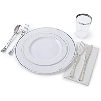 OCCASIONS  Full Plastic Tableware set - Wedding Disposable Plastic Plates Plastic silverware  sc 1 st  Amazon.com & Amazon.com: