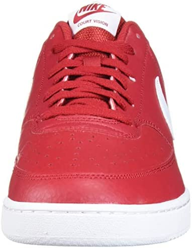 Nike Men's Court Vision Low Sneaker, Gym RedWhite, 12.5