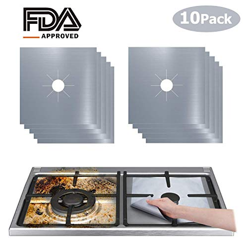 10 Pack Stove Burner Covers, Non-Stick Gas Stove Burner Liners,Gas Range Protectors, Stovetop Covers for Gas Burners Double Thickness 0.2mm Reusable & Dishwasher Safe(Silver)