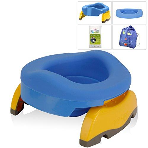 Kalencom Potette Potty Value Bundle: Potette Plus 2-in-1 Travel Potty | Home-Use Collapsible Reusable Potty Liner | 10-Pack Disposable Potty Liners | Drawstring Carry Bag (Blue/Blue)