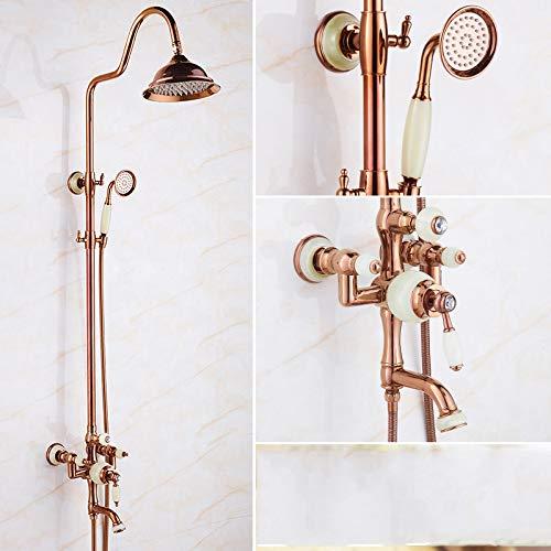 N Hlluya Professional Sink Mixer Tap Kitchen Faucet golden Jade shower head shower set full brass faucets cold water faucet antique bathroom shower, lift
