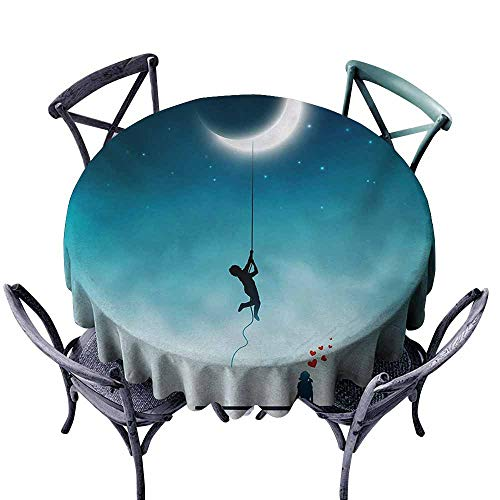 Lgckeg Oil-Proof and Leak-Proof Tablecloth Fantasy Boy Climbing to The Moon with Rope and Girl On Bench Love Valentines Fantasy Teal and White Picnic D63