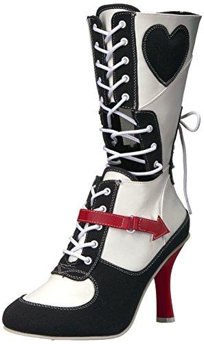Funtasma Women's Referee-200 Mid Calf Boot, White Polyurethane-Black Canvas, 8 M US (Black Referee Boots)