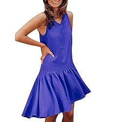 Uribake ?��??� Women Solid Sleeveless Tank Dress Ruched Flounce Summer Casual Beach Sundress Mini Dress Blue