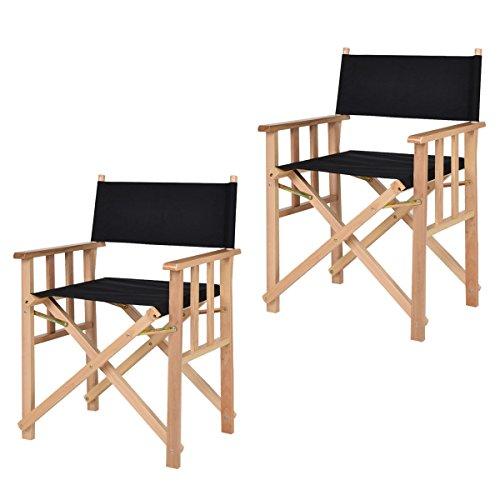 Set Of 2 Folding Makeup Director Chairs Wood Camping Fishing Black