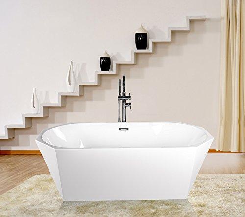 Empava A1555W Luxury Modern Bathroom Freestanding Bathtub (Enameled Steel Tub Freestanding compare prices)