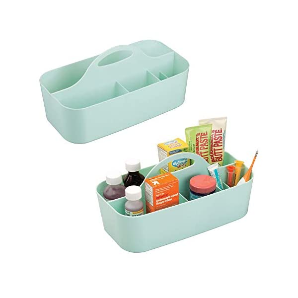 mDesign Plastic Nursery Storage Organizer Caddy Tote – Divided Basket Bin with Handle – Holds Bottles, Spoons, Bibs, Pacifiers, Diapers, Wipes, Baby Lotion – BPA Free – Large, 2 Pack – Mint Green