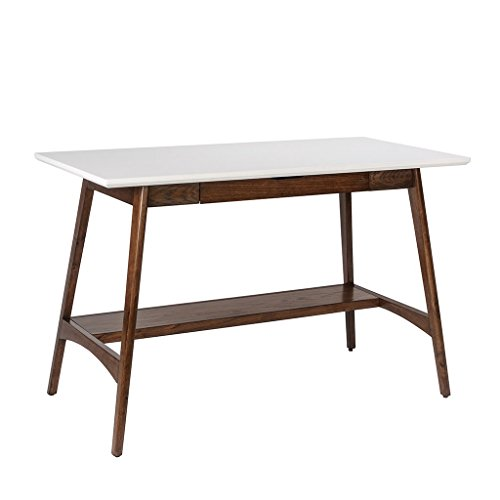 Mid Century Modern Desk with Keyboard Drawer in White and Pecan Wood Finish - Classic Pecan Finish