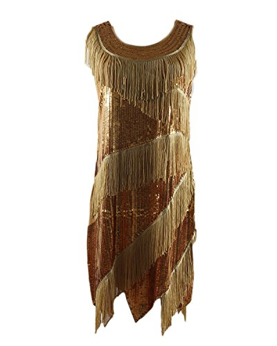 Syne Sun Women's 1920s Gatsby Retro Sequined Embellished Fringed Flapper Dress (Yellow/Gold) (Yellow Flapper Dress)
