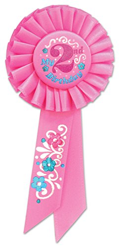 Beistle RS052P My 2nd Birthday Rosette, 3-1/4-Inch by 6-1/2-Inch -