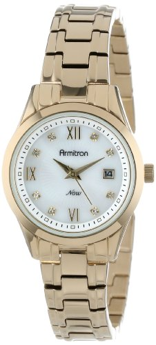 Armitron Women's 75/5086MPGP Swarovski Crystal Accented Date Dial Function Gold-Tone Bracelet Watch