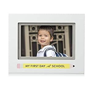 Pearhead First Day of School Picture Frame, Keepsake Gift for Parents, White