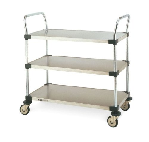 Metro MW Series Stainless Steel Utility Cart, 3 Shelves, 375 lbs Capacity, 30