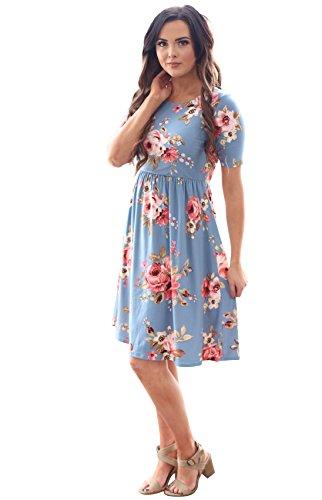 11cfc6e50c9 Natalie Modest Dress In Dusty Blue w Floral Print - S