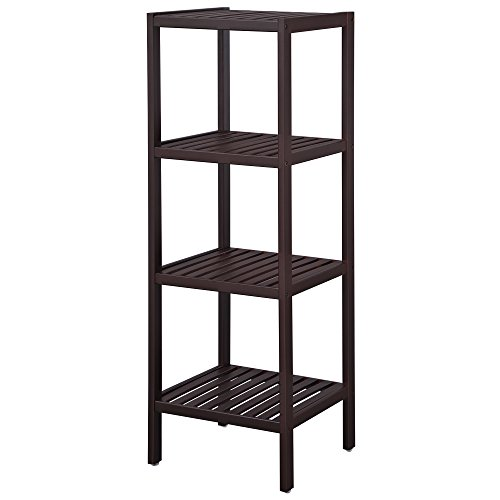 SONGMICS 100% Bamboo Bathroom Shelf Stand 4-Tier Multifunctional Storage Rack Shelving Unit 38.6 x 13 x 13 Inches Brown - Storage Towel Rack