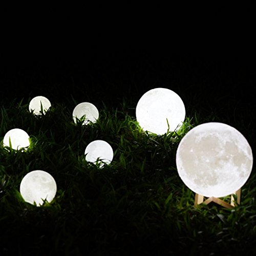 Mydethun Moon Light Night Light for Kids Gift for Women Moon Lamp USB Charging and Touch Control Brightness Two Tone Warm and Cool White Lunar Lamp (4.7IN) by Mydethun (Image #6)