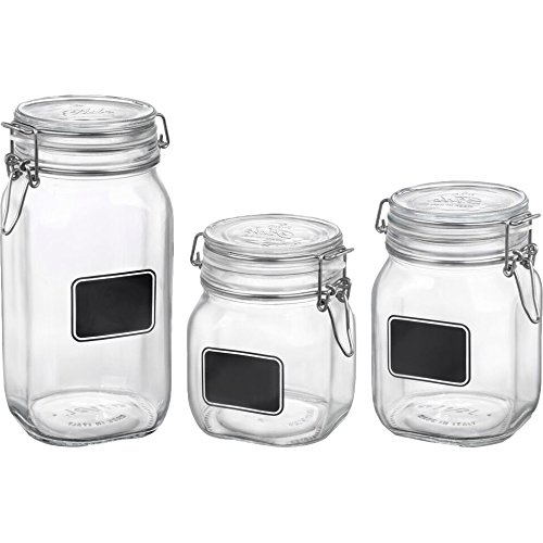 Bormioli 149740S06021656 Fido Glass Storage Chalk 3pc