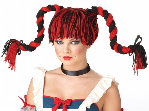 Calif (Red And Black Rag Doll Wig)