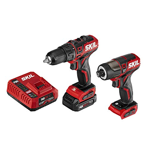 "SKIL 2-Tool Drill Combo Kit: Pwrcore 12 Brushless 12V 1/2"" Cordless Drill Driver & Brushless 1/4"" Hex Cordless Impact Driver, Includes 2.0Ah Lithium Battery & Pwrjump Charger - CB742901"