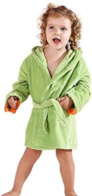 Michley Girls Boys Robe Cotton Towel Animal Dinosaur Hooded Bathrobe
