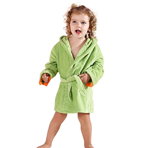MICHLEY Girls Boys Robe Cotton Towel Kids Animal Dinosaur Style Hooded Bathrobe (Green 1-3T)