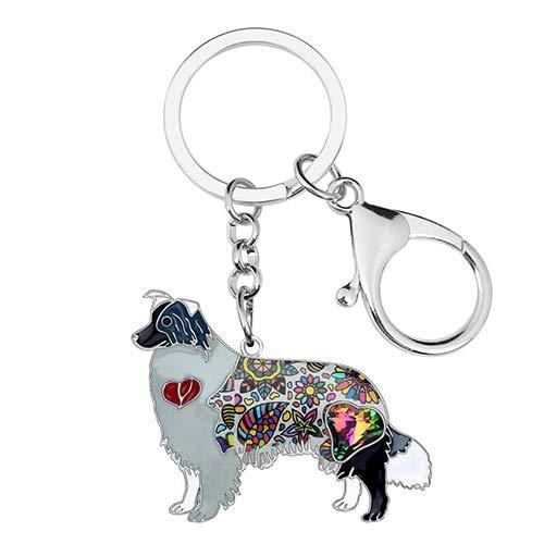 Collie Keychain Metal Rhinestone Border Collie Dog Key Chain Fashion Rough Collie Car Keyring Animal Jewelry Bag Handbag Charms for Women & Girls Valentine Gifts ()