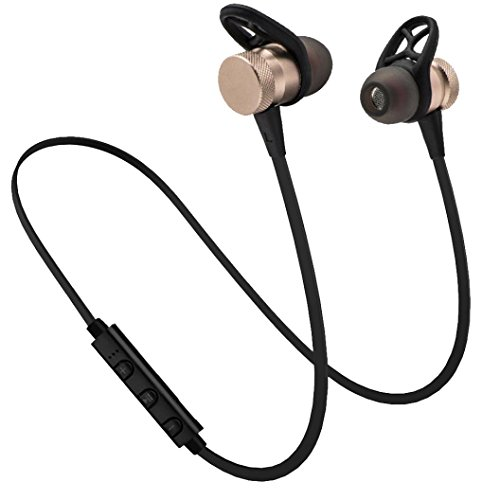 GBSELL Stereo Metal Magnet Wireless Bluetooth Headset Headphone Earphone For iPhone Samsung (Gold)