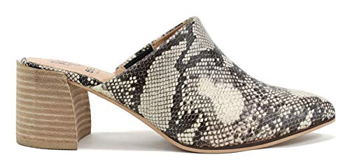 Beast Fashion Stephanie-01 Suede Slide On Chunky Mule Heel Sandal (11, Snake)