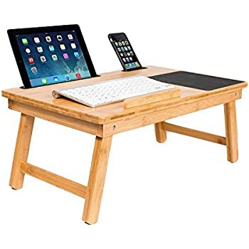 Sofia + Sam Multi Tasking Laptop Bed Tray   Lap Desk Supports Laptops Up To 18 Inches (Natural)