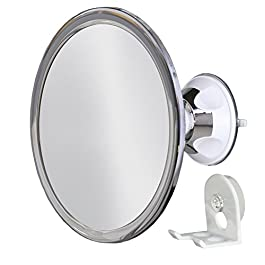 No Fog Shower Mirror with Rotating, Locking Suction   Adjustable Arm for Easy Positioning   Best Personal Mirror for Shaving You Will Ever Buy! Ideal Travel Mirror