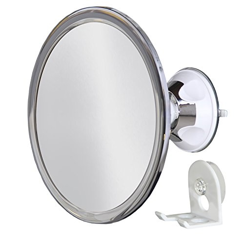 Upper West Collection No Fog Shower Mirror with Rotating, Locking Suction; Bonus Separate Razor Holder | Adjustable Arm for Easy Positioning | Best Personal Mirror for Shaving Available | The