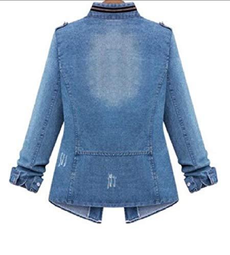 Di Azzurra Rkbaoye Zipper Oversize Vento Snap A Tunica Jeans Women Giacca ffzqv