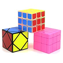 Heddi Magic Speed Cube Puzzle Transparent Skewb Mirror Cubes - Pink 3*3*3 Brain Teaser Puzzle Cube Bundle Box Pack
