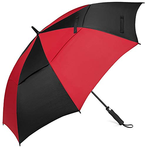 Z ZAMEKA Golf Umbrella - 62 Inch Windproof Umbrellas Automatic Open with Sun Protection - Large Oversize Double Canopy Vented Rain Umbrellas for Men and Women (Golf 62 Inch Red/Black)