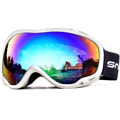 HUBO SPORTS Ski Snow Goggles for Men Women Adult,OTG Snowboard Goggles of Dual Lens with Anti Fog for UV Protection for Girls(WBPGreen)