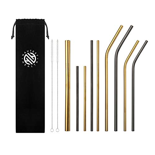 - Stainless Steel Reusable 11 Piece Straw Set with Cleaner and Bag Includes Bonus Smoothie/Boba Thick Straw Metallic Gold & Black