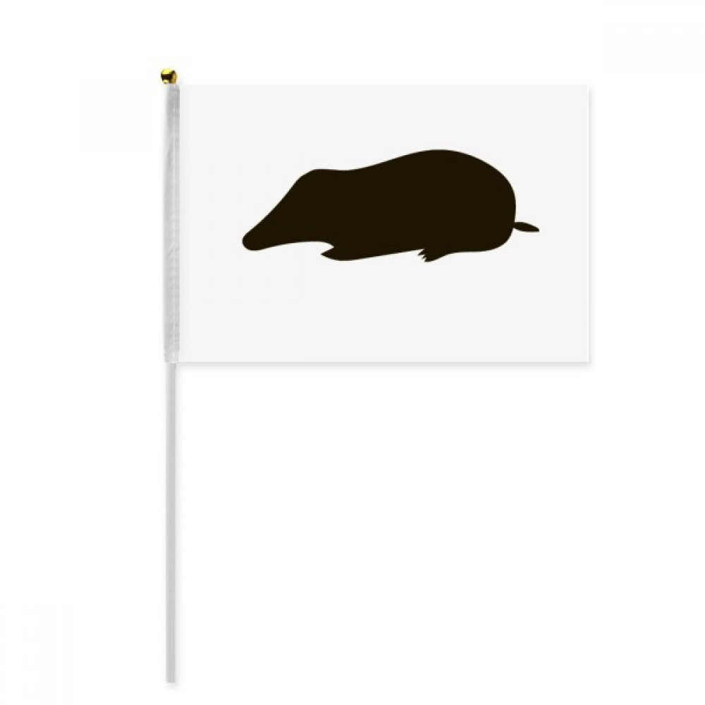 Black Mole Animal Portrayal Hand Waving Flag 8x5 inch Polyester Sport Event Procession Parade 4pcs