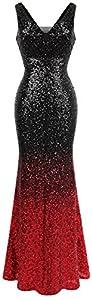 Angel-fashions Women's V Neck Glitter Sequin Gatsby 20s Flapper Evening Dress