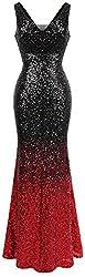 Women's V-Neck Sequin Flapper Evening Dress