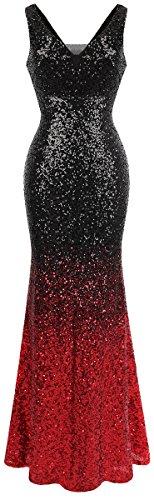 V Ballon Rot Ausschnitt Pailletten Gatsby Damen Angel fashions Flapper Schwarz Abendkleid Xt1Rxqwn