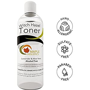 Pure Witch Hazel Toner - Alcohol Free with Aloe Vera & Lavender Essential Oil - Natural Moisturizer for Women and Men for Face Hair and Skin - Therapeutic Grade - USA Made 8 Oz